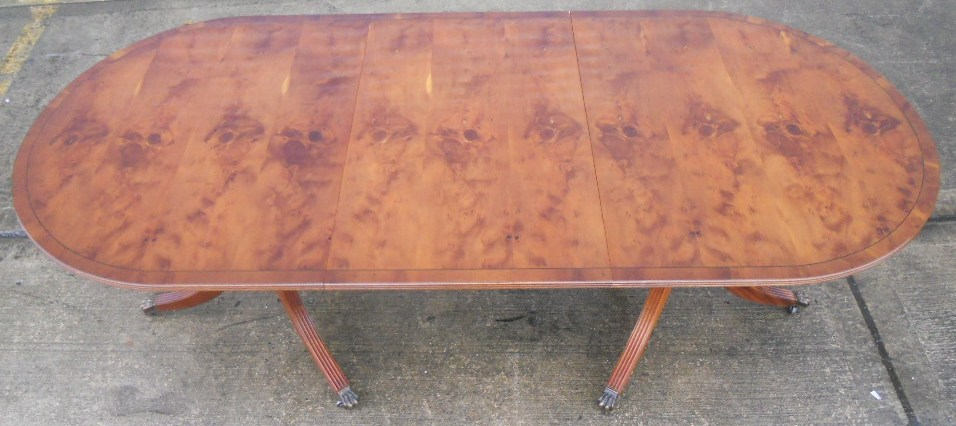 Antique Regency Style Yew Dining Table To Seat Eight